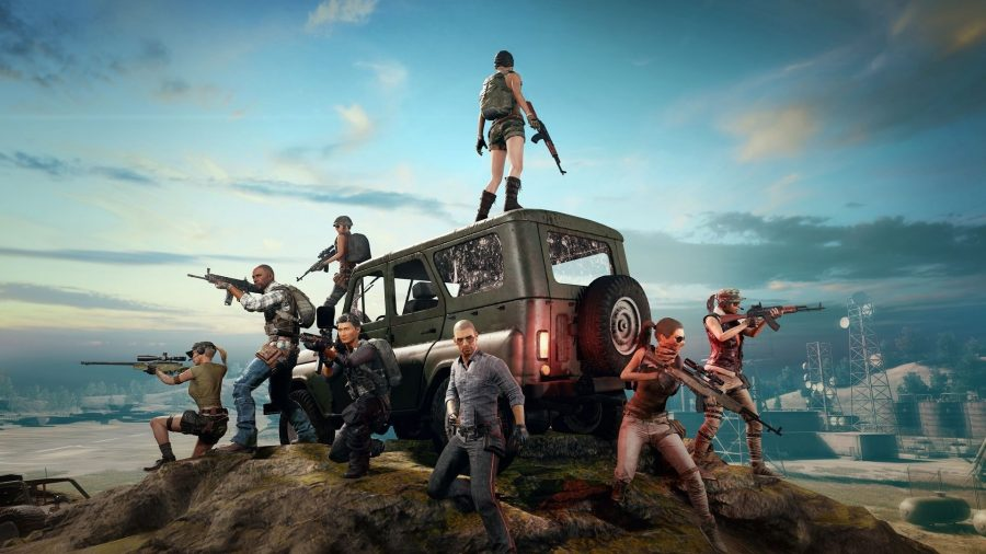 A series of characters in military and combat outfits, stand around a jeep holding weapons