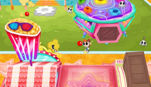 The character Rainbow Billy stands in a green field, surrounded by brightly coloured amusements and items