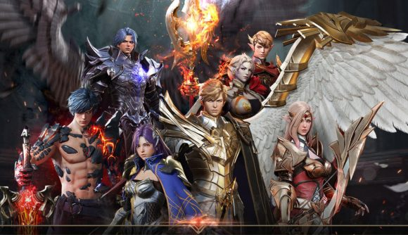 A group of Seven Knights 2 heroes together