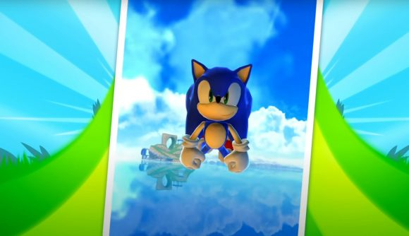 Sonic Dash downloads: Sonic flying through the air