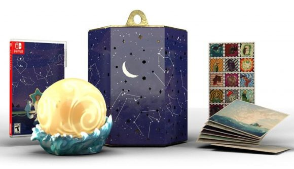 A physical copy of Spiritfarer is visible, alongside an Everlight lamp, postcards and stamps, and a constellation lantern box.