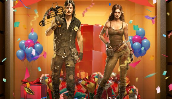 Daryl Dixon and Becca surrounded by balloons