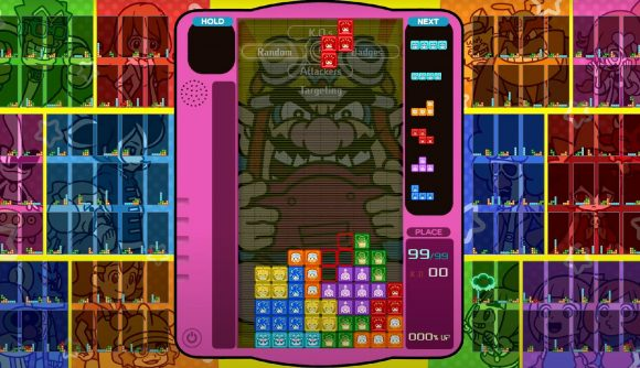 A game of Tetris 99 is being played, while the surrounding theme shows characters from WarioWare: Get It Together!