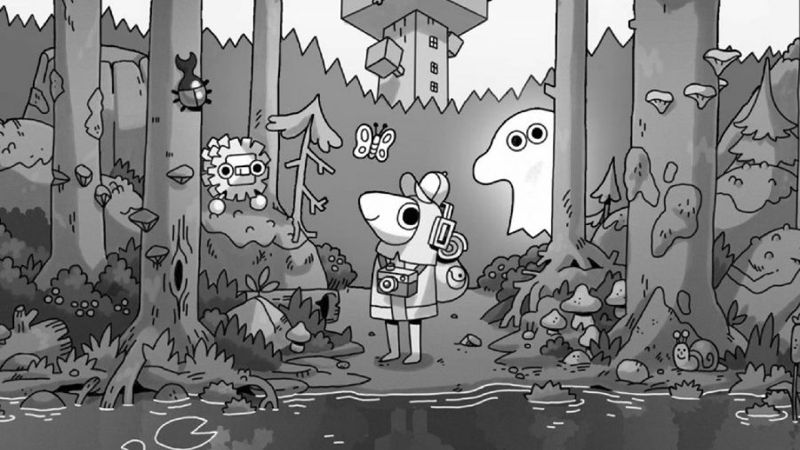 The main character from hand drawn adventure TOEM stands in the middle of a forest clearing, with a ghost peaking behind a tree and several creatures floating around