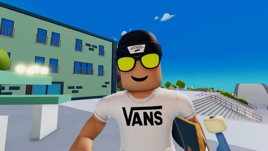 A Vans World character with sunglasses on