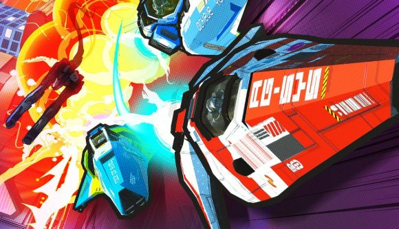 Futuristic cars zoom forward in a comic-book stylised art style