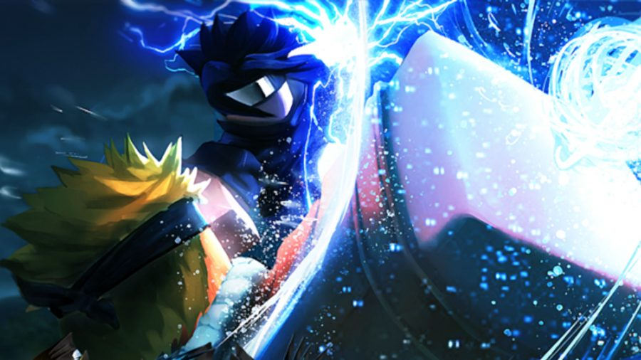 Anime Storm codes; two characters fighting with blue light around them