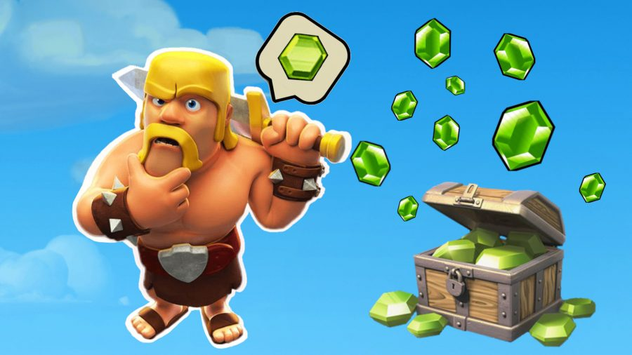 Clash of Clans cheats; barbarian thinking about gems