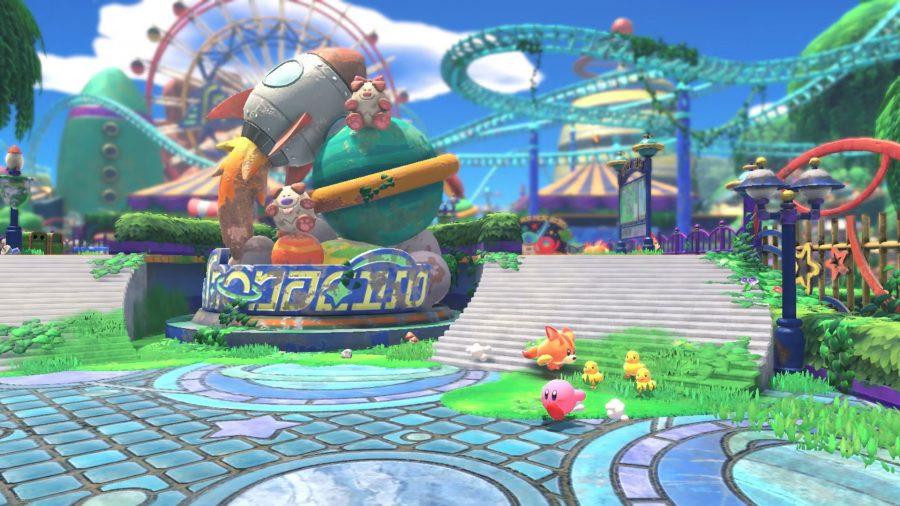 Kirby walking through town