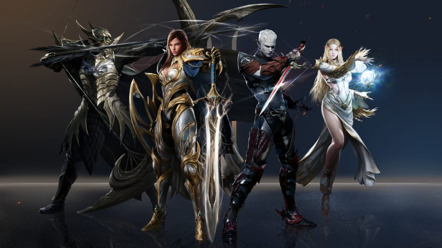Various character races stood together