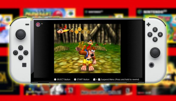 A Nintendo Switch OLED Model is pictures, with Banjo Kazooie running on the Nintendo Switch Online service.