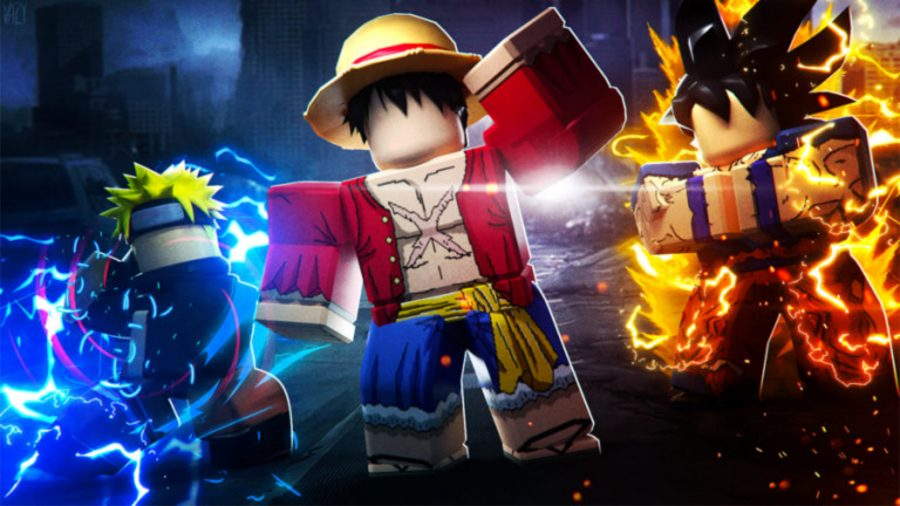 three anime Roblox characters