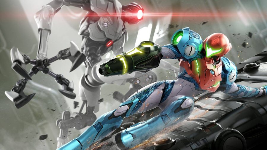 Samus slides dynamically down a metal surface while the menacing robot E.M.M.I. looms over her in the background, it's red light shining bright