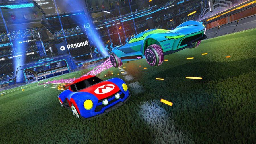 2台の車が画面に向かって急いでいます。  1つは緑で、サムスのガンシップに基づいており、もう1つは青、赤で、マリオの象徴的な衣装に基づいています