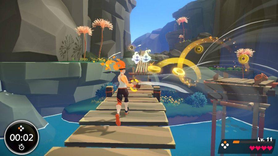 スポーツ用品を身に着け、フィットネスリングを持っているキャラクターが木製の橋の上を走り、風が吹く敵からの攻撃を避けます。