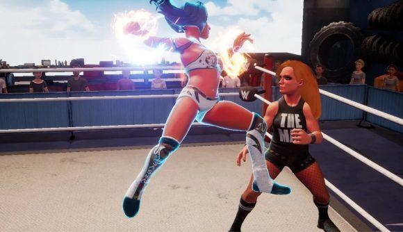 Sasha Banks attacking Becky Lynch