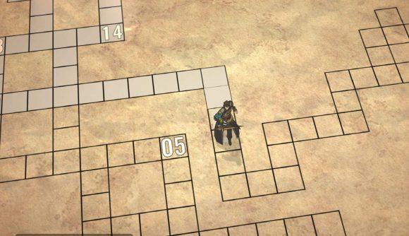 A fantasy character navigates a grid over a barren looking board