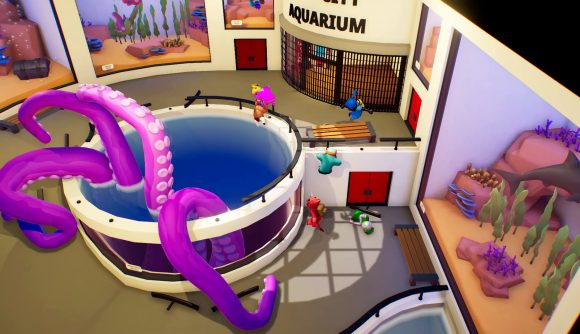 A pool with a large squid in stands next to a few colourful characters, looking to be playing against each other in a game