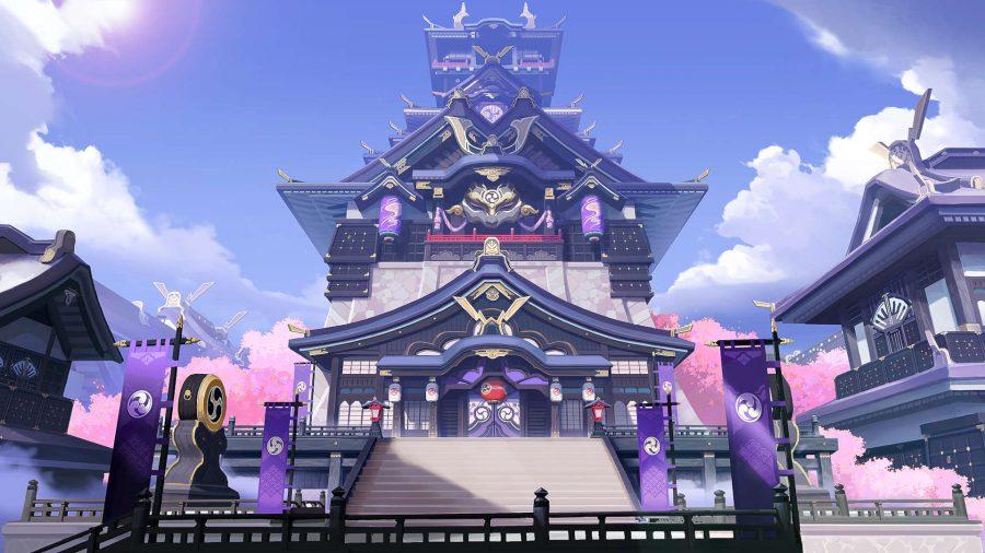 A large purple shrine