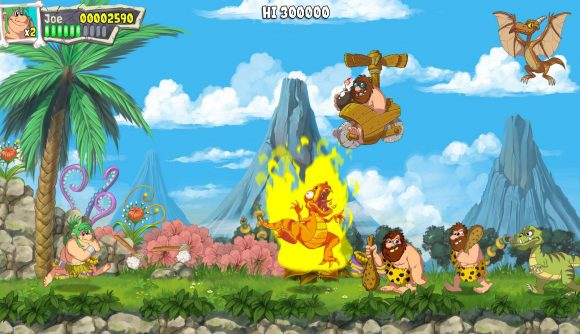 A cartoon styled image shows several caveman walking through a 2D platformer, a dinosaur shrieks whilst on fire, and a flying Pterodactyl appears in the air