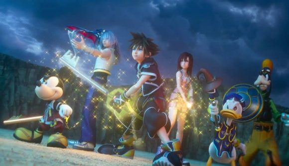 Sora from the Kingdom Hearts series is shown, holding his keyblade ready for attack. Other characters are standing supportively alongside him, including Mickey Mouse and Donald Duck