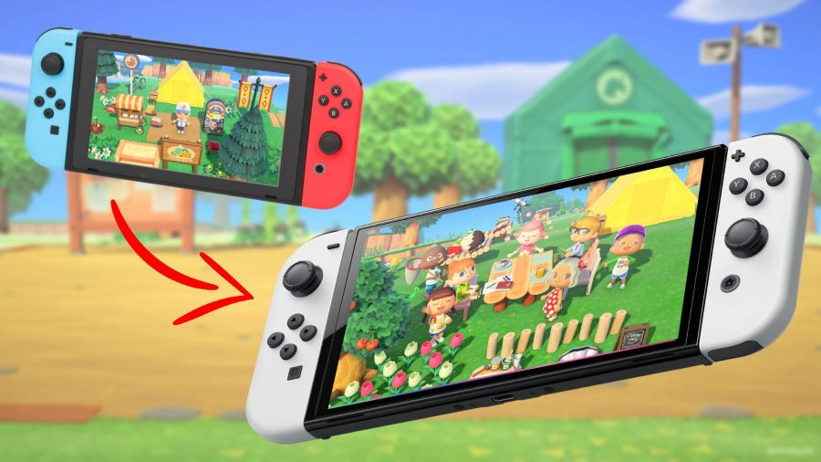 A regular Nintendo Switch and an OLED switch are shown, both playing Animal Crossing. A red arrow points from the older switch towards the OLED Switch.