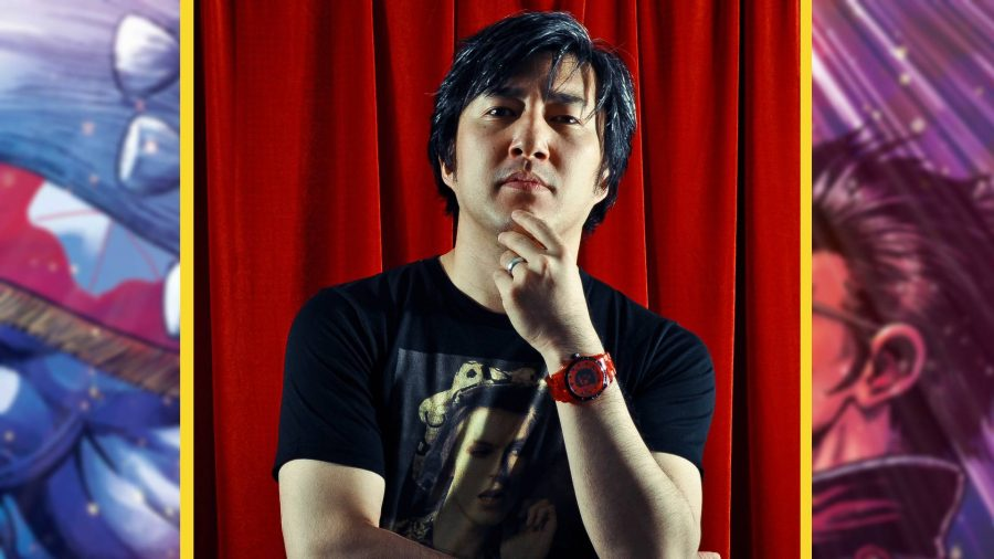 A headshot of developer SUDA 51 shows him stroking his chin pensively