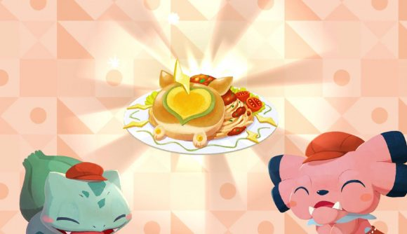 Bulbasaur and Snubbull look happy as they have made a dish of pancakes.