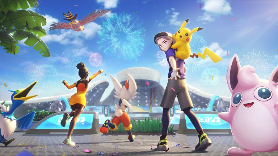 A group of Pokémon Unite trainers welcoming you to the game