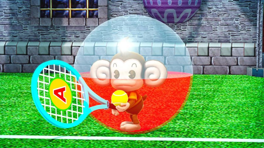 A monkey in a large ball somehow holds a tennis racket, ready to serve up a shot