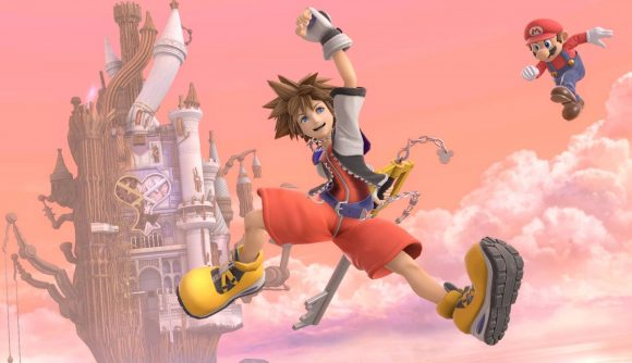 Sora from Kingdom Hearts appears, jumping in the air for joy, while Mario is visible in the background behind him